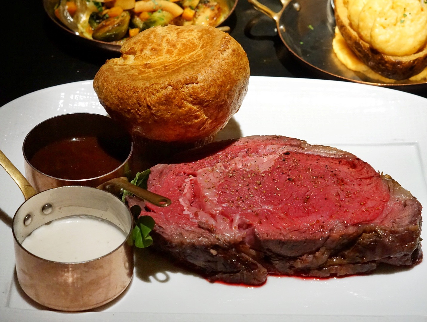 A hefty 12oz portion of Prime Rib (medium rare here) that you can enjoy nightly or on their Thursday night 'Prime Rib Night'. It is slow roasted and encrusted in salt, herbs and peppercorns and served with Yorkshire pudding, horseradish cream and a traditional au jus.