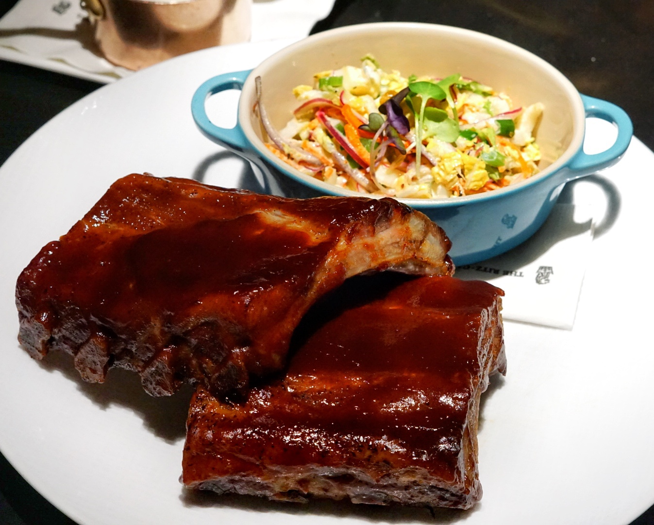 The Niman Ranch Pork Baby Back Ribs are dressed in Seven's Signature BBQ rub and served with a Caribbean slaw during Thursday's Prime Rib Night.
