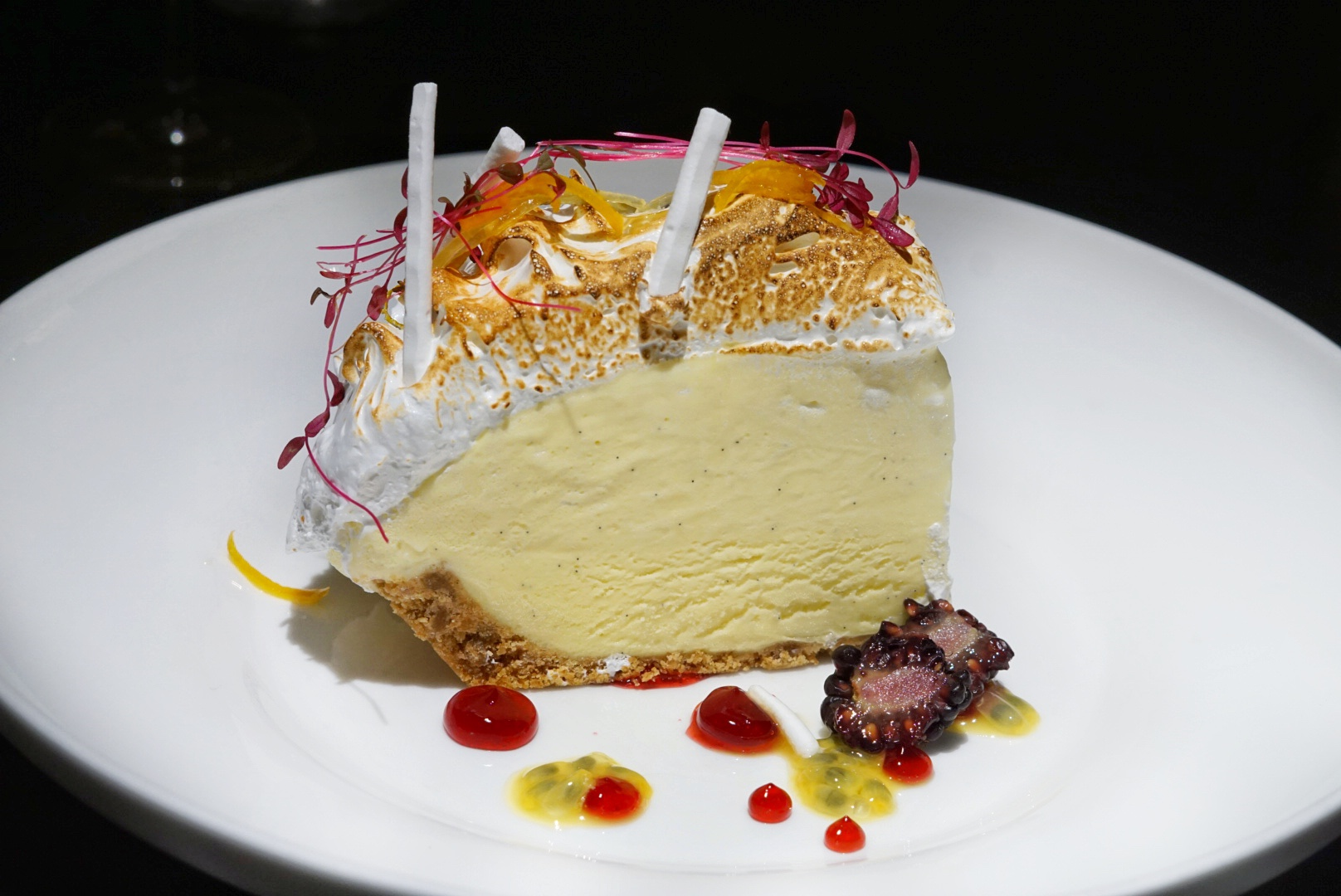 The 'Cayman Garden Pie' is the perfect for date night dessert because it's loaded with lemon meringue ice cream and topped with toasted meringue, hibiscus gel and micro flowers.