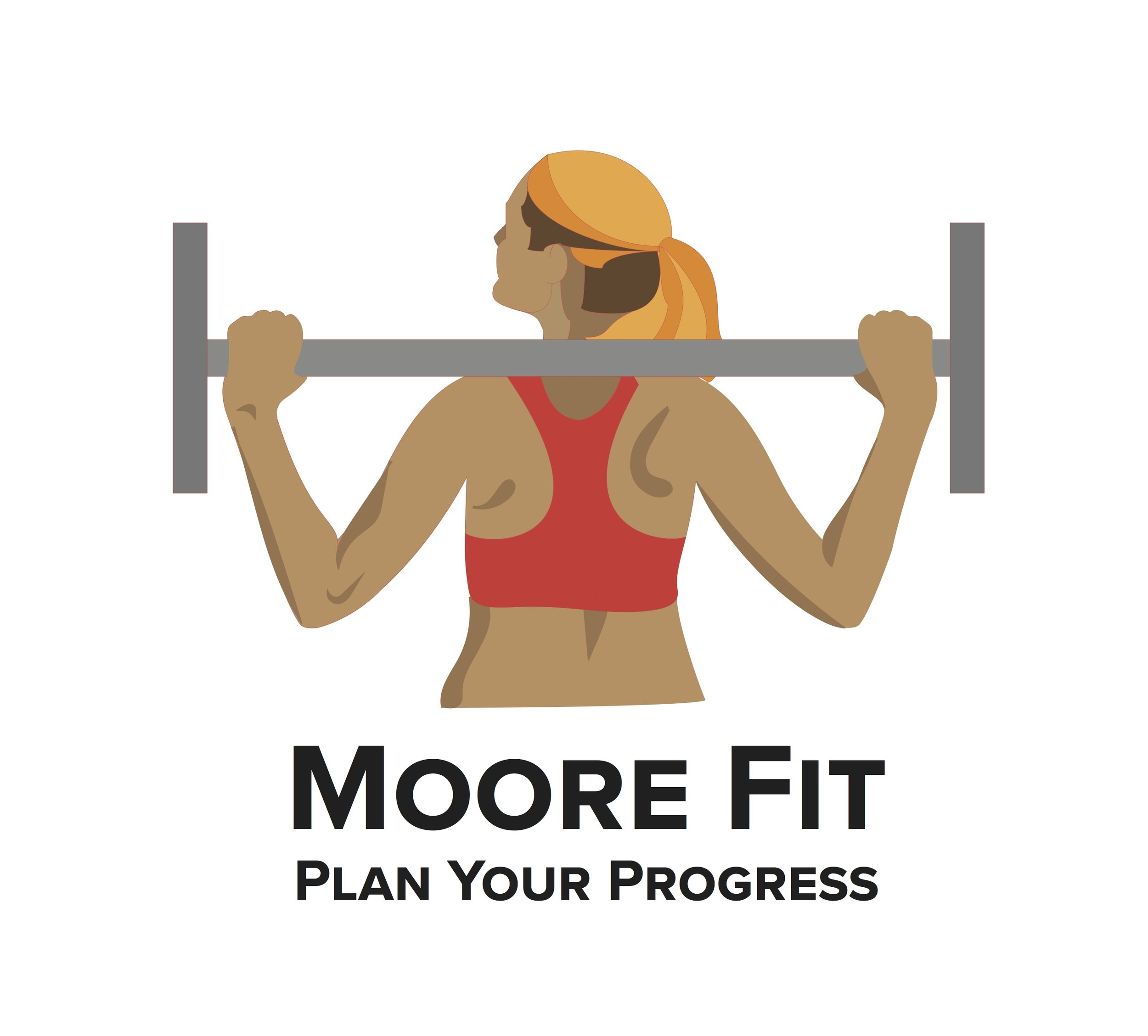 Moore fit - Moore Fit is an application I imagined based on personal training sessions with trainer Melissa Moore- I wanted to build an app that encourages people, particularly women, to diversify their exercise routines with strength training and cardio.  Many women are nervous about weightlifting because it seems masculine.  I found in my fitness journey that weightlifting helps prevent injuries and supports overall health- for this reason, I wanted the main image to be a woman lifting.  I also represented a diverse fitness schedule among the pages and icons to encourage variety exercise and health benefits beyond weight loss.