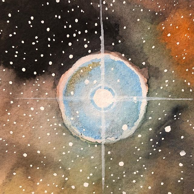 Can you guys believe I am still working on this painting??!!! Getting into the #details now tho #spacepainting #stars #watercolor