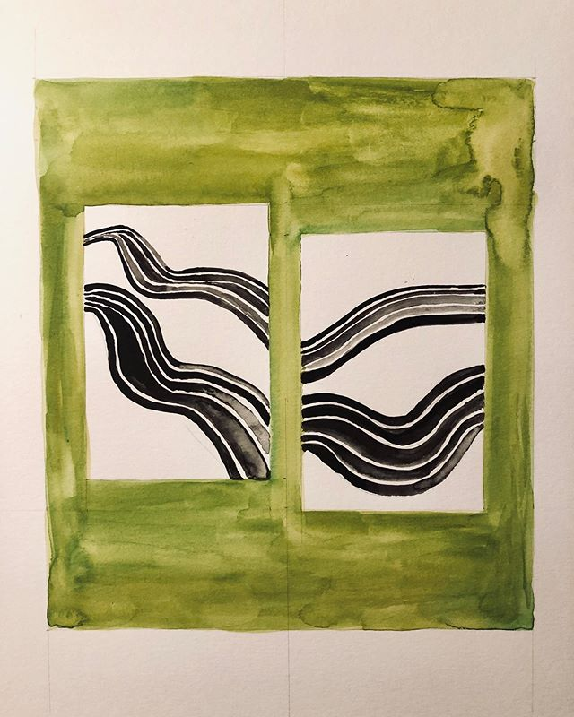 #watercolor painting inspired by an image by @moo4camus #racecartrack #chartreuse
