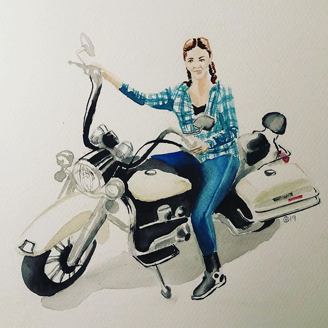 Little motorcycle portrait of @kudra1001 #watercolor #motorcycle #chicksonbikes