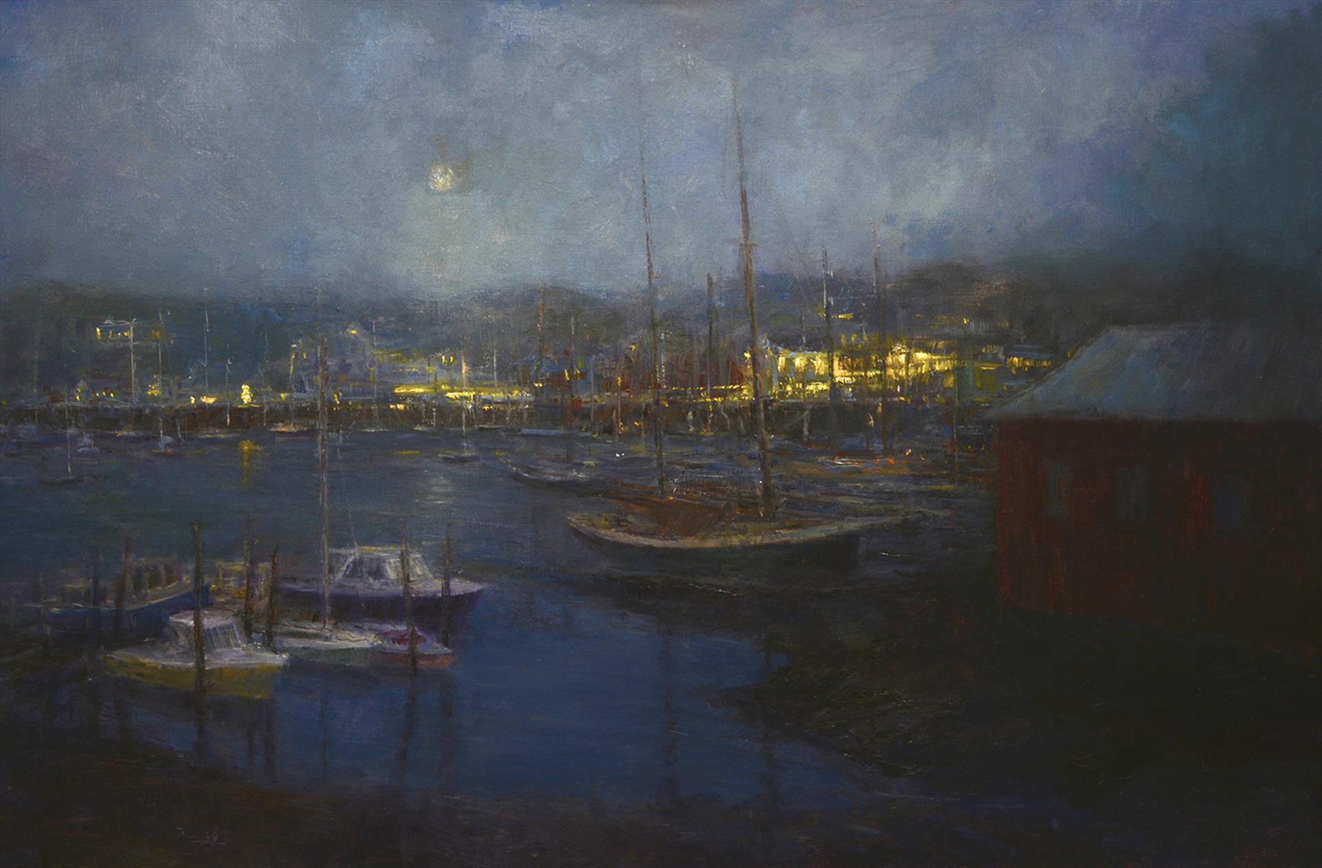 Harbor Lights, Camden an oil by Mark Daly won PleinAir Salon's Best Nocturne Award