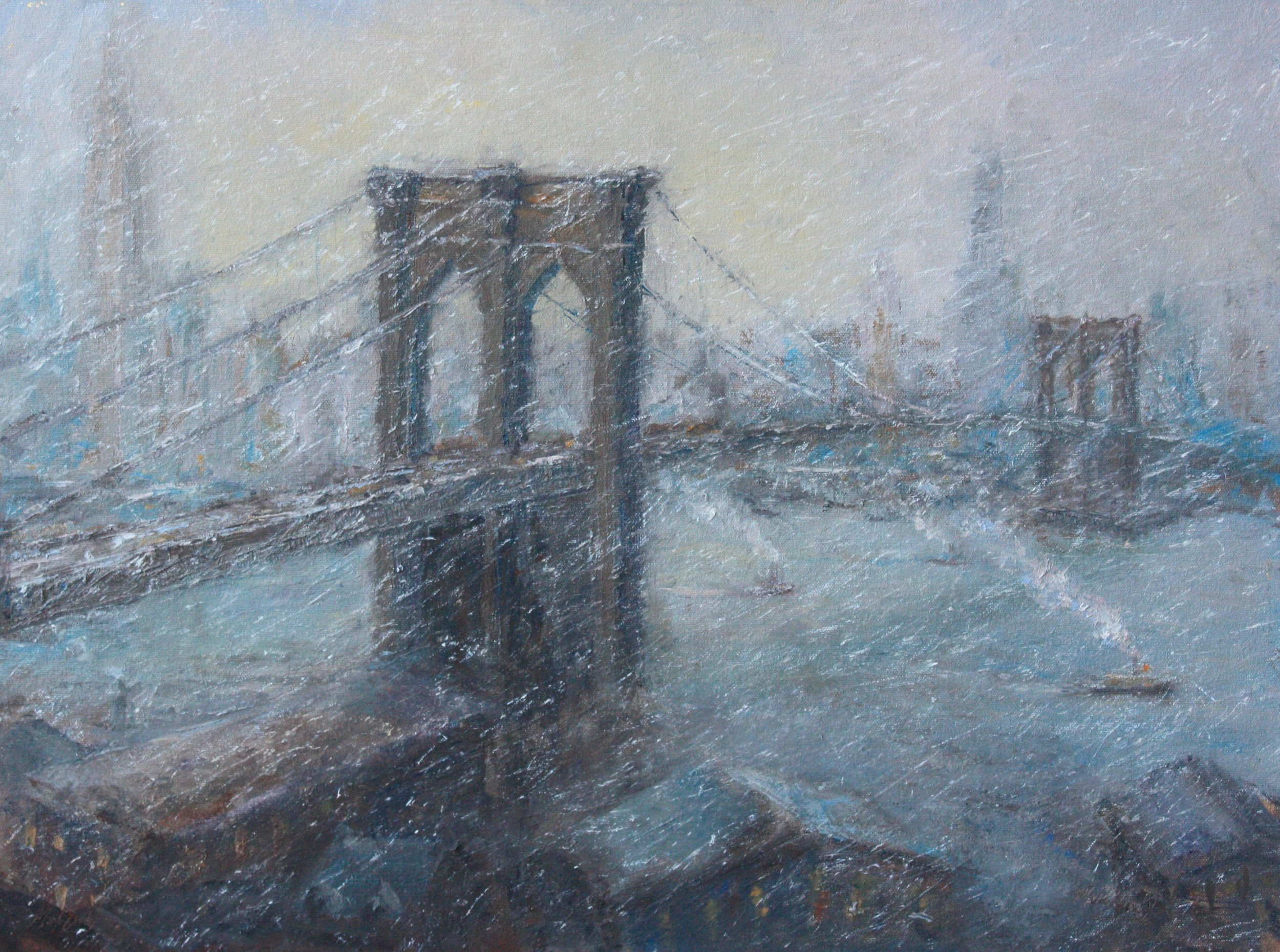 Mark Daly's The Great Bridge In Winter, Oil, 18 x 24. Available at Rehs Galleries.
