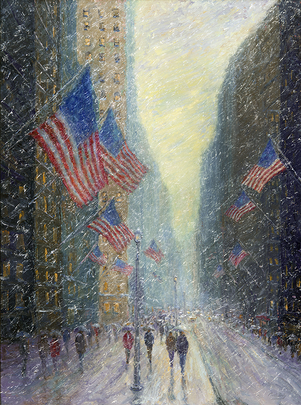 Mark Daly's Presidential Flags, Oil, 40 x 30. Sold by Rehs Galleries.