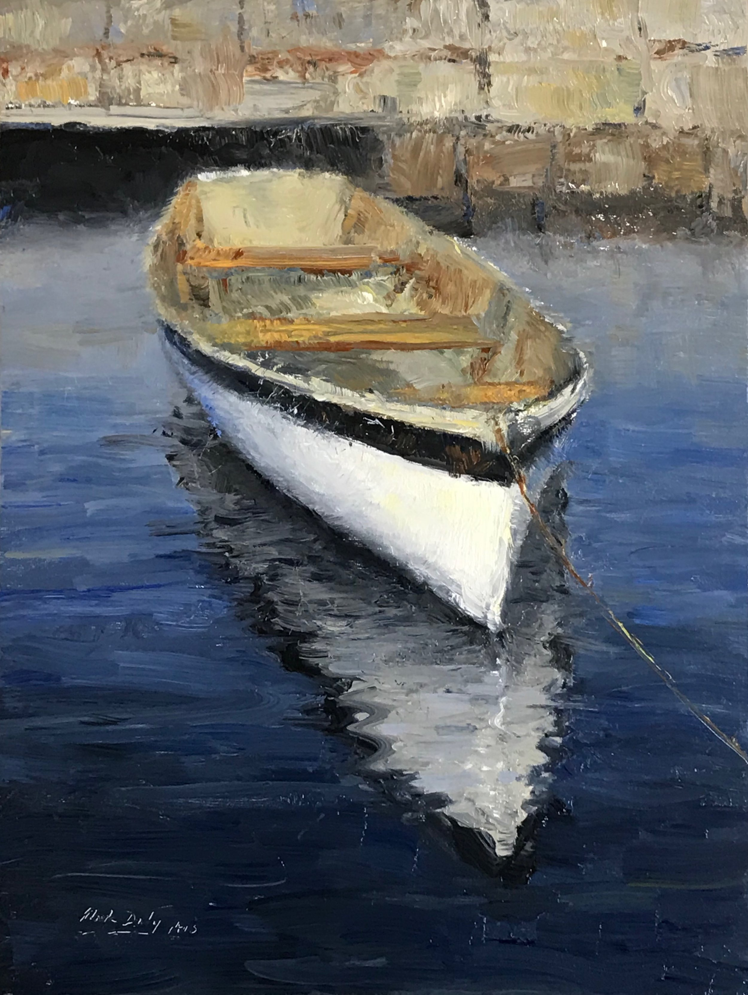 White Boat Reflections, Oil 12 x 9. Signed lower left by Mark Daly. Exhibited at OPA National Show.