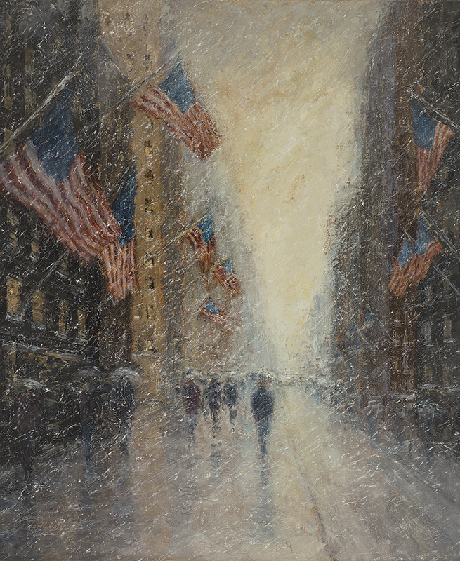 Mark Daly's Flags, Presidents Day, Fifth Avenue, Oil, 24 x 20. Available at Rehs Galleries.