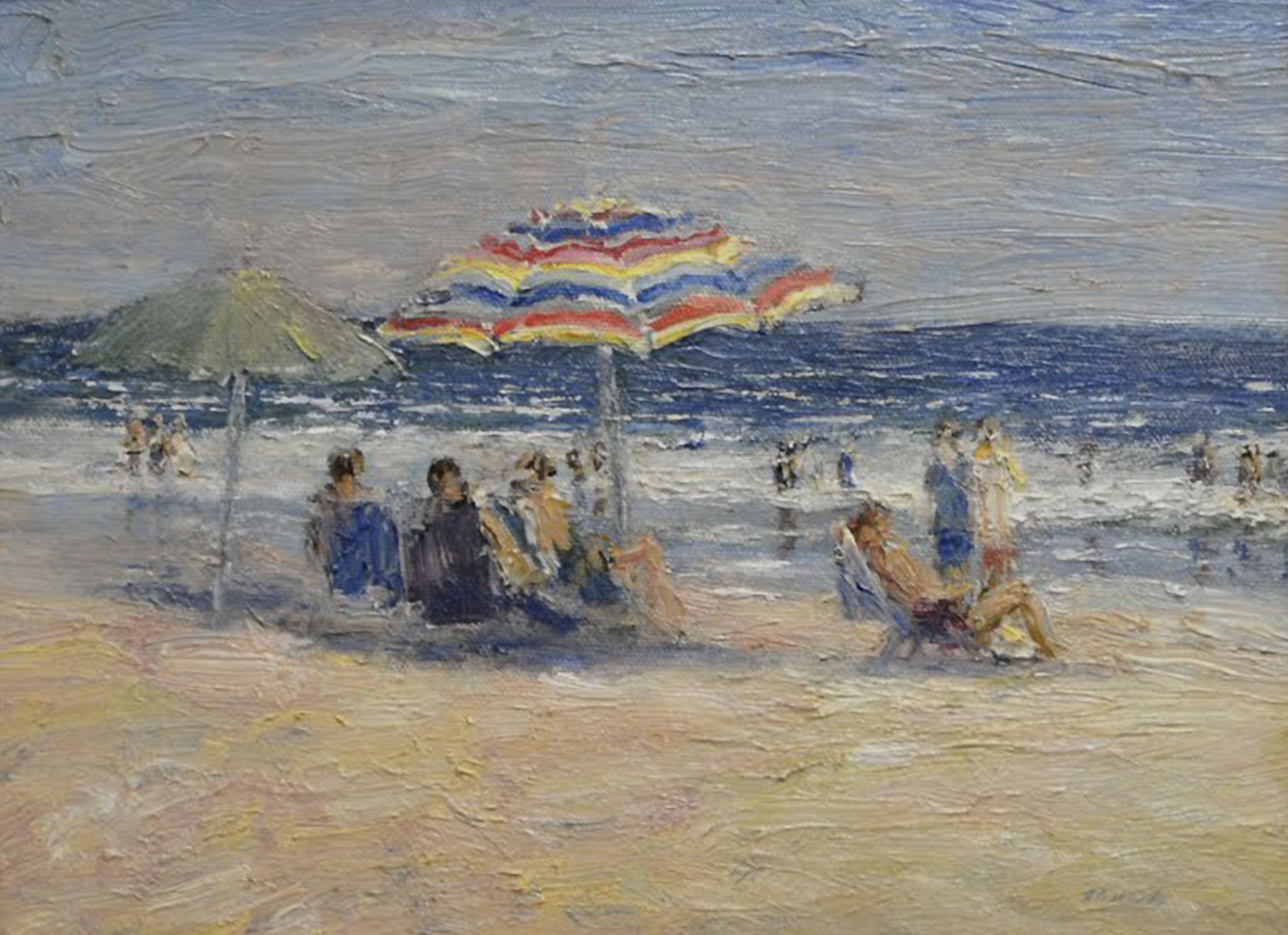 Striped Umbrella, Oil, 9 x 12. Available at Rehs Galleries.