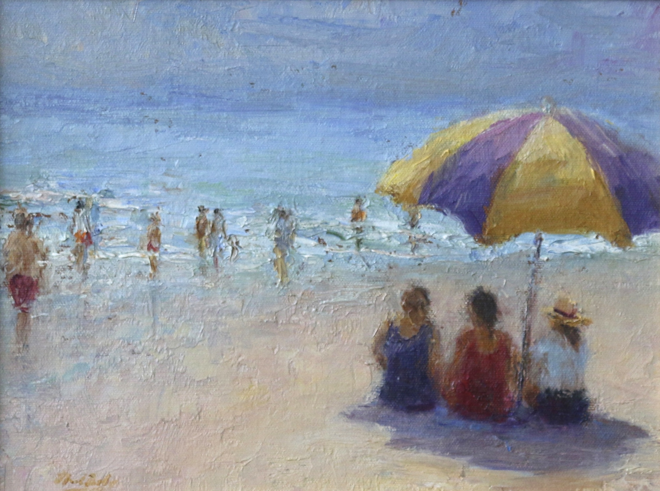 Beach Talk, Oil 9 x 12, SLL by Mark Daly. Available at Rehs Galleries