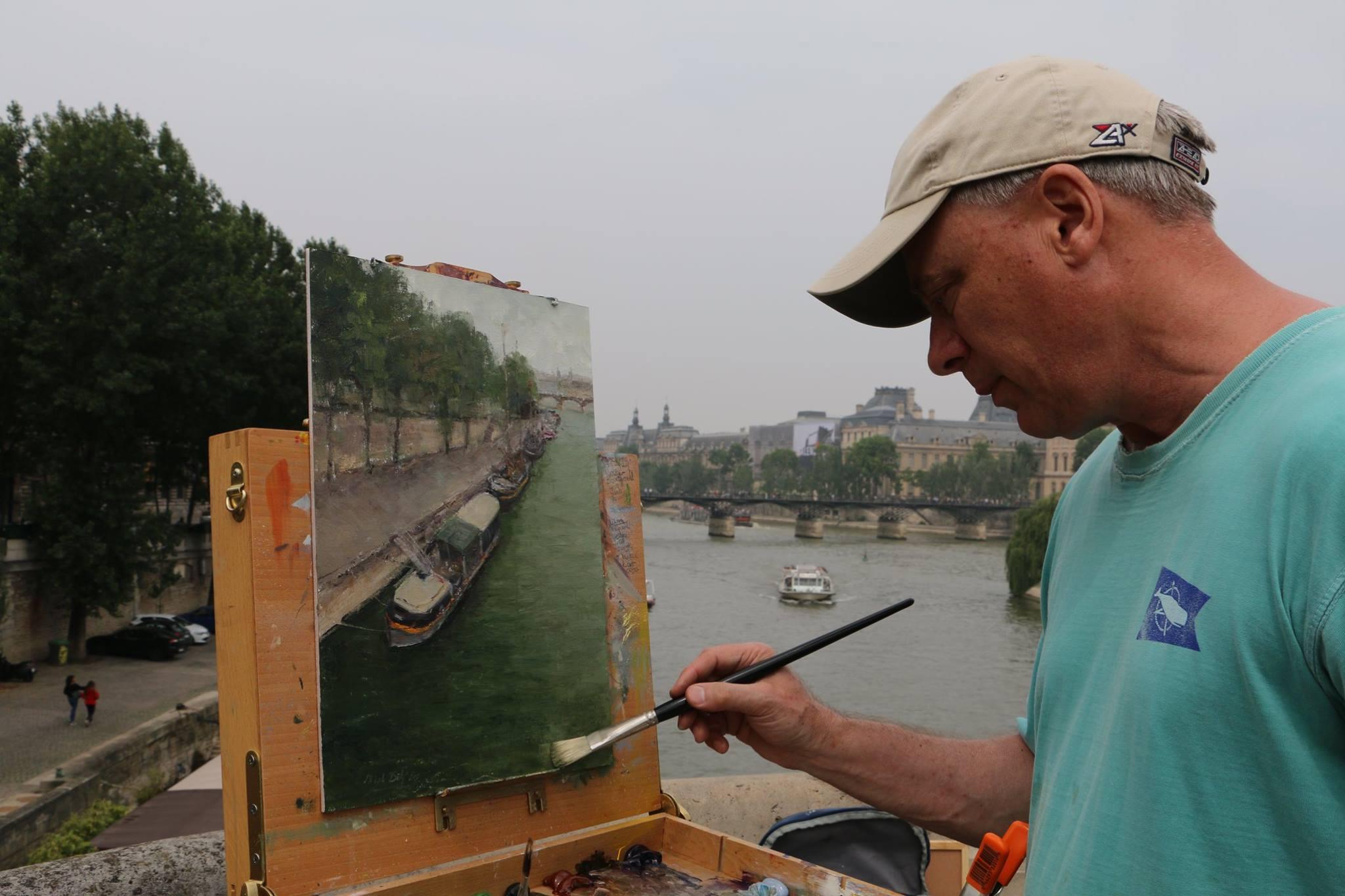 Painting The Seine on Pont Neuf Bridge, Paris, 2018.