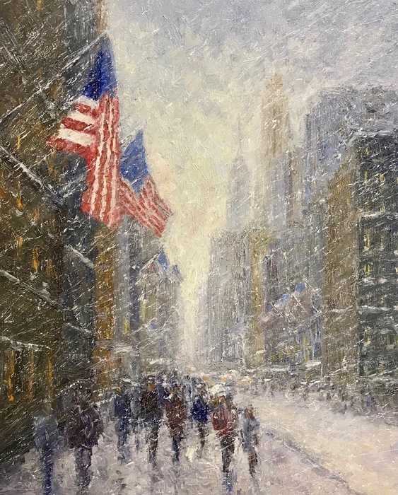 Winter Flags, Oil, 20 x 16, SLL by Mark Daly. Sold by Rehs Galleries.