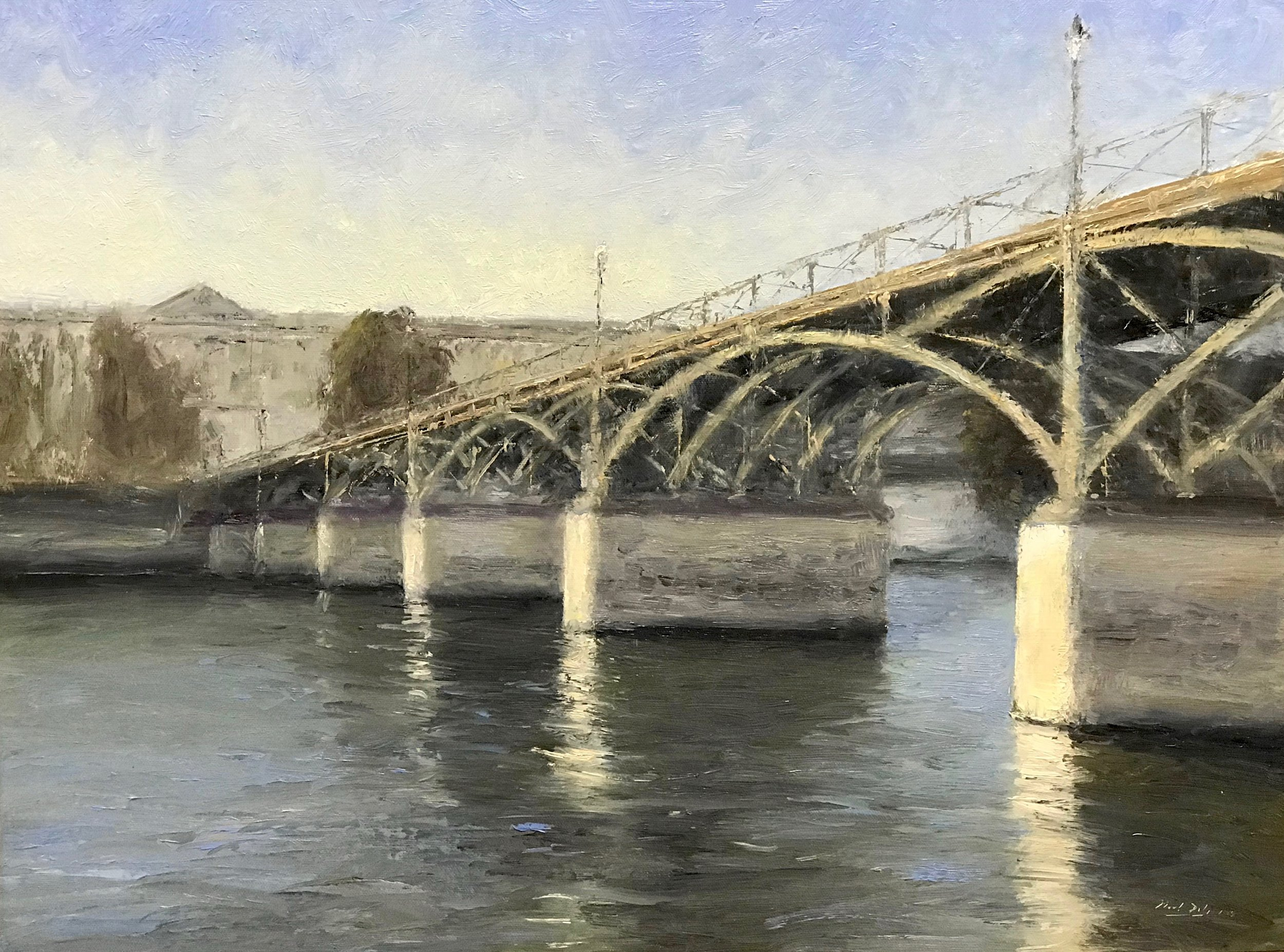 Pont des Arts, oil, 18 x 24, SLR by Mark Daly