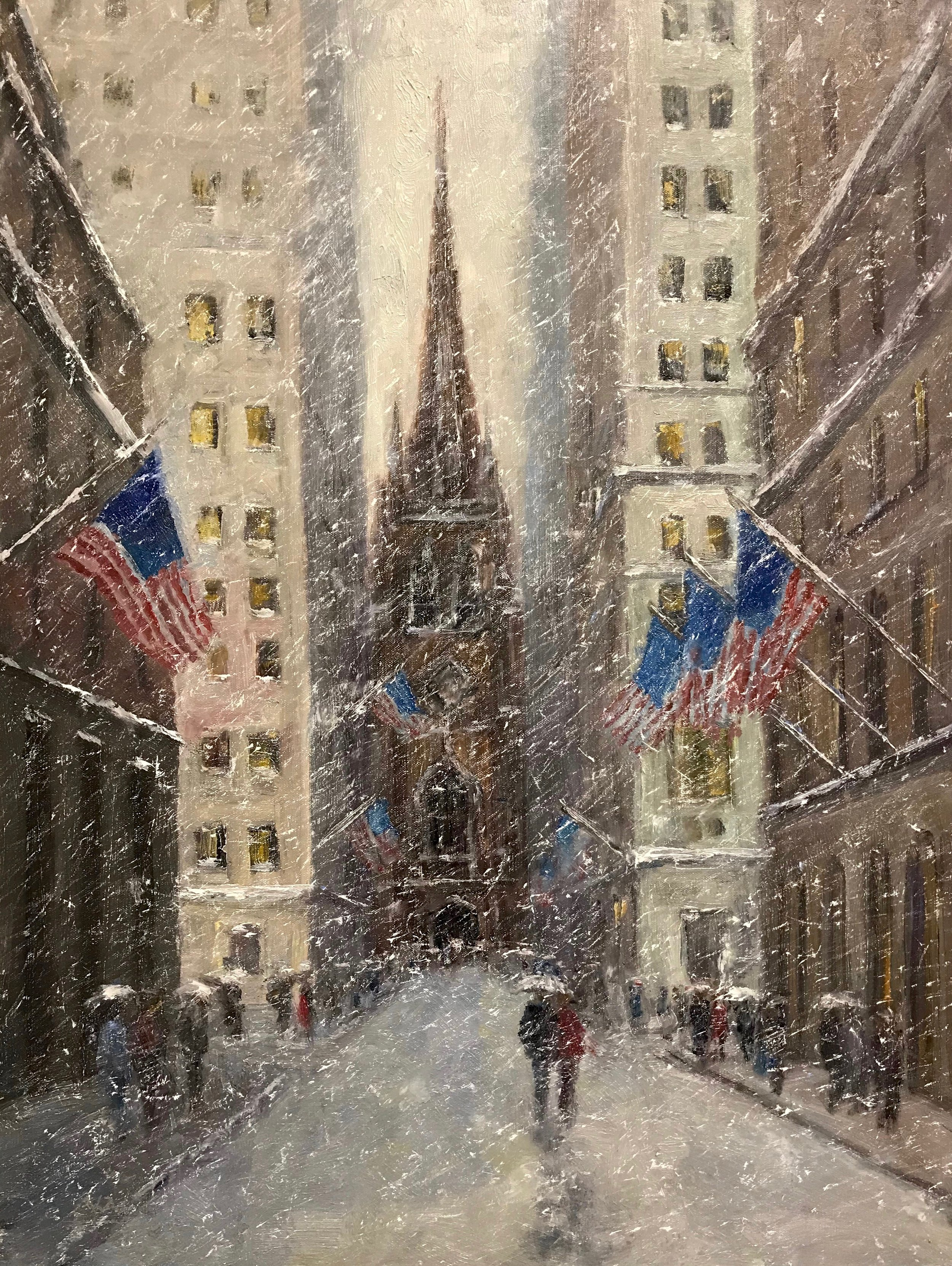 Old Trinity, Winter, 24 x 18, SLL by Mark Daly. Sold by Rehs Galleries.