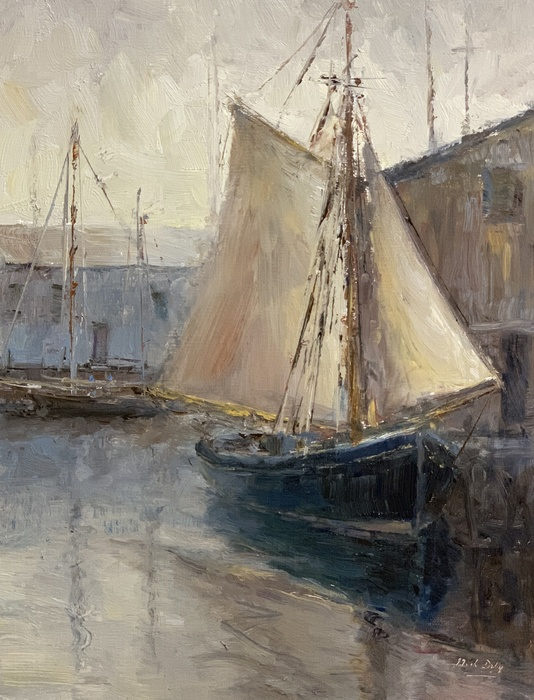 "Drying Sails, oil on linen, 12"" x 9"" SLR by Mark Daly."