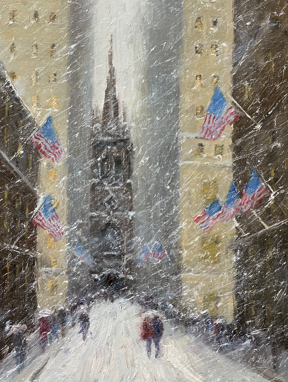 Winter Flags, Old Trinity Church, 12 x 9, oil on linen. Available at Rehs Contemporary Galleries.