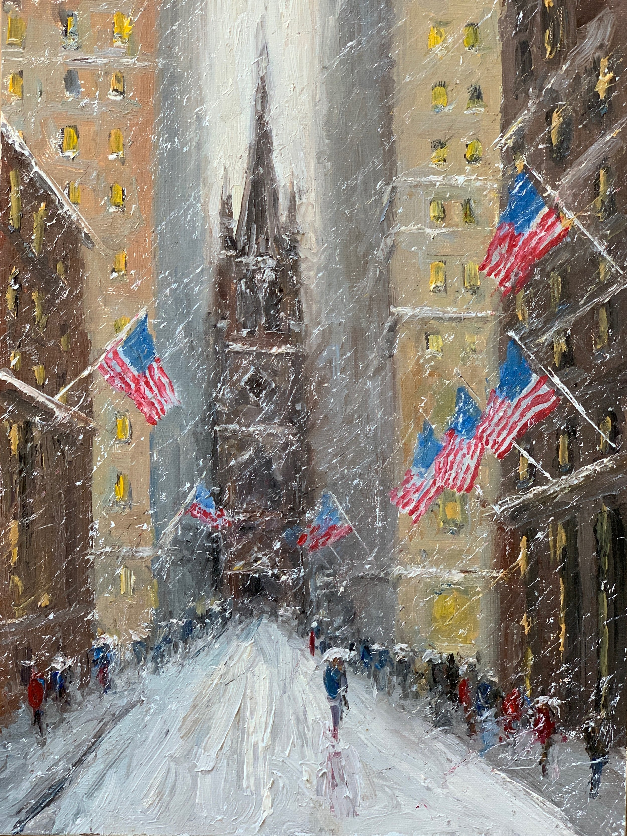 Winter Flags, Old Trinity Church, 12 x 9, oil on linen. Sold by Rehs Contemporary Galleries.