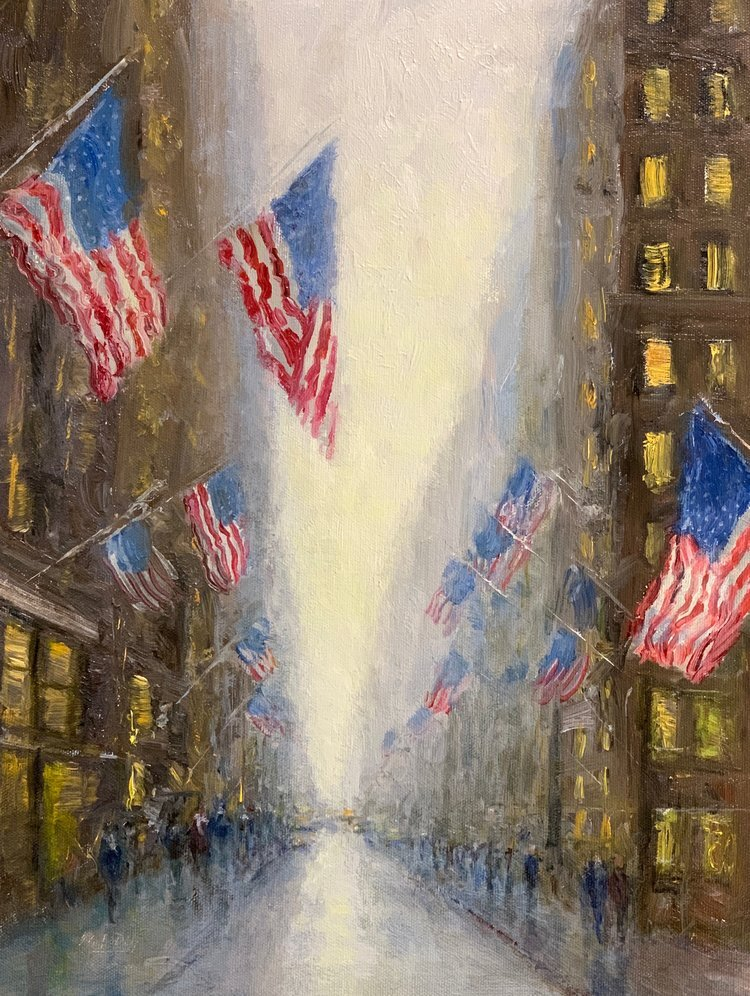 Flags Along The Avenue by Mark Daly. Oil on linen. Available at Greenacres Art Guild 2019 Show opening November 8, 2019.