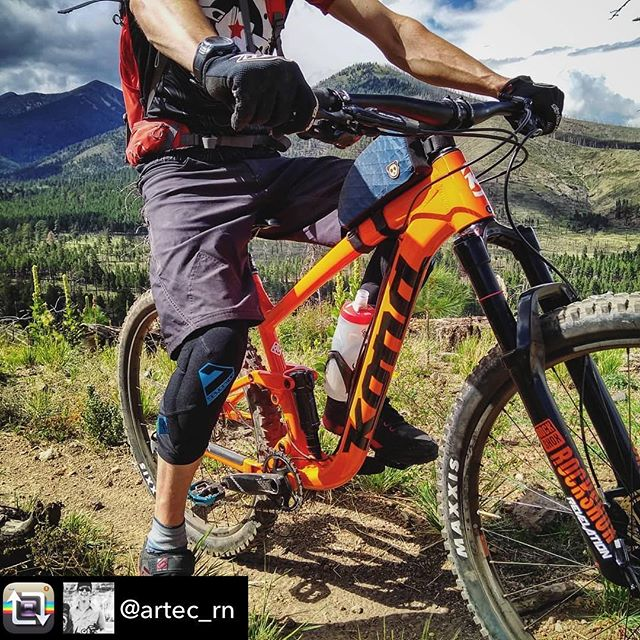 The Kona Satori's orange color was designed to show off the rider's ripped arms. It also happens to pedal extremely well and fly on the descents #mtb #konassatori