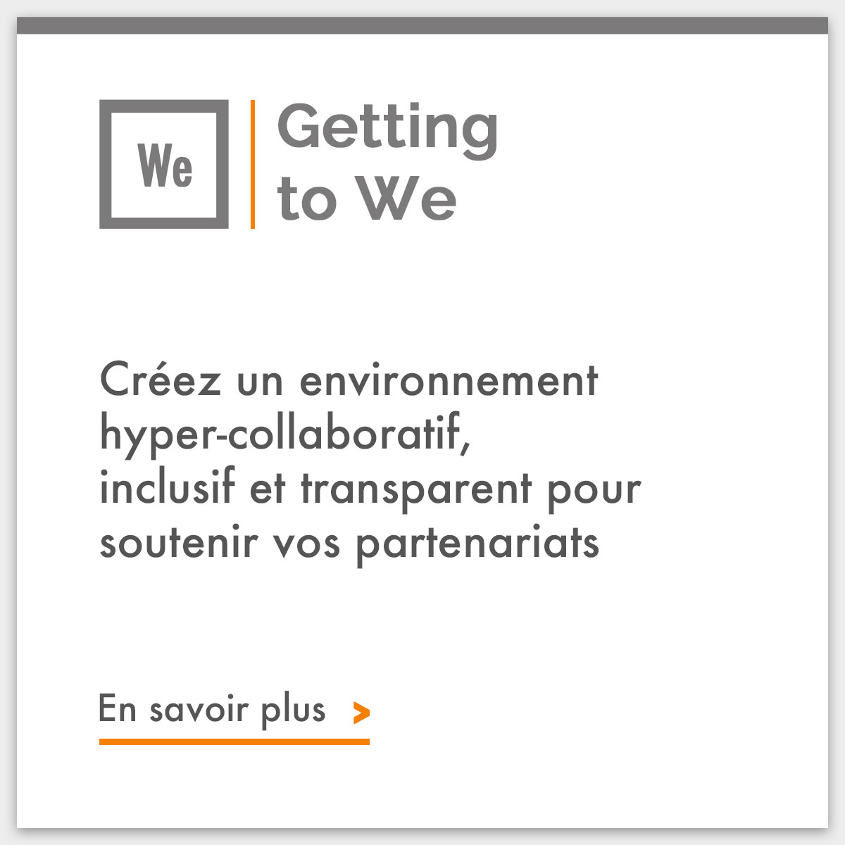 Getting to We