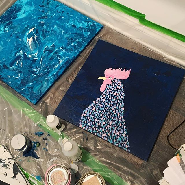 One of these things is not like the other 🎶 honestly though when your best friend wants a painting of a rooster you have to deliver. . . . . #painting #art #nashvilleartist #painter #artist #paint #nashvillestyle #nashvillegram #abstract #abstractart #artwork #artcollector #fluidpainting#artforsale #apartmenttherapy #artlovers #womenartists #artbuyers #buyart#decor#contemporaryart #handpainted #homedecor #interiordecor#loveart #livewithart #paint #paintingforsale#sellart