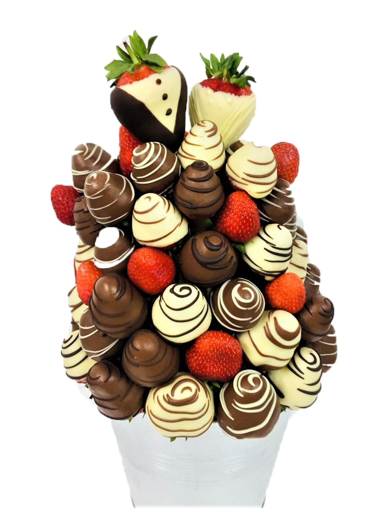 Bride & Groom Chocolate Strawberry Bouquet.png