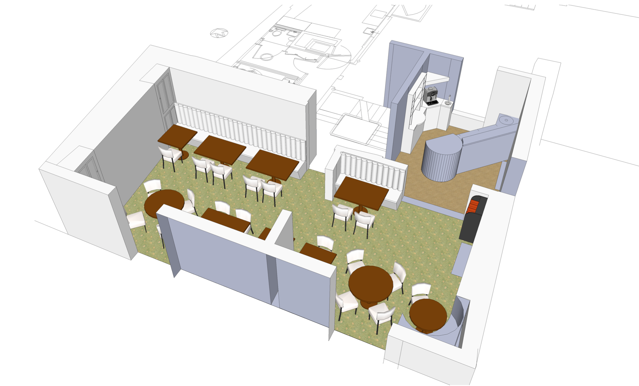 Spatial design for restaurant and bar area