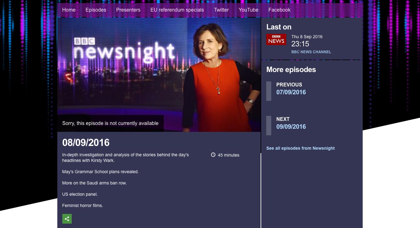 Interview on BBC Newsnight  - 8th September 2016