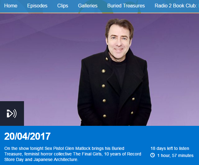 Interview on Radio 2 - The Arts Show with Jonathan Ross - 20th April 2017