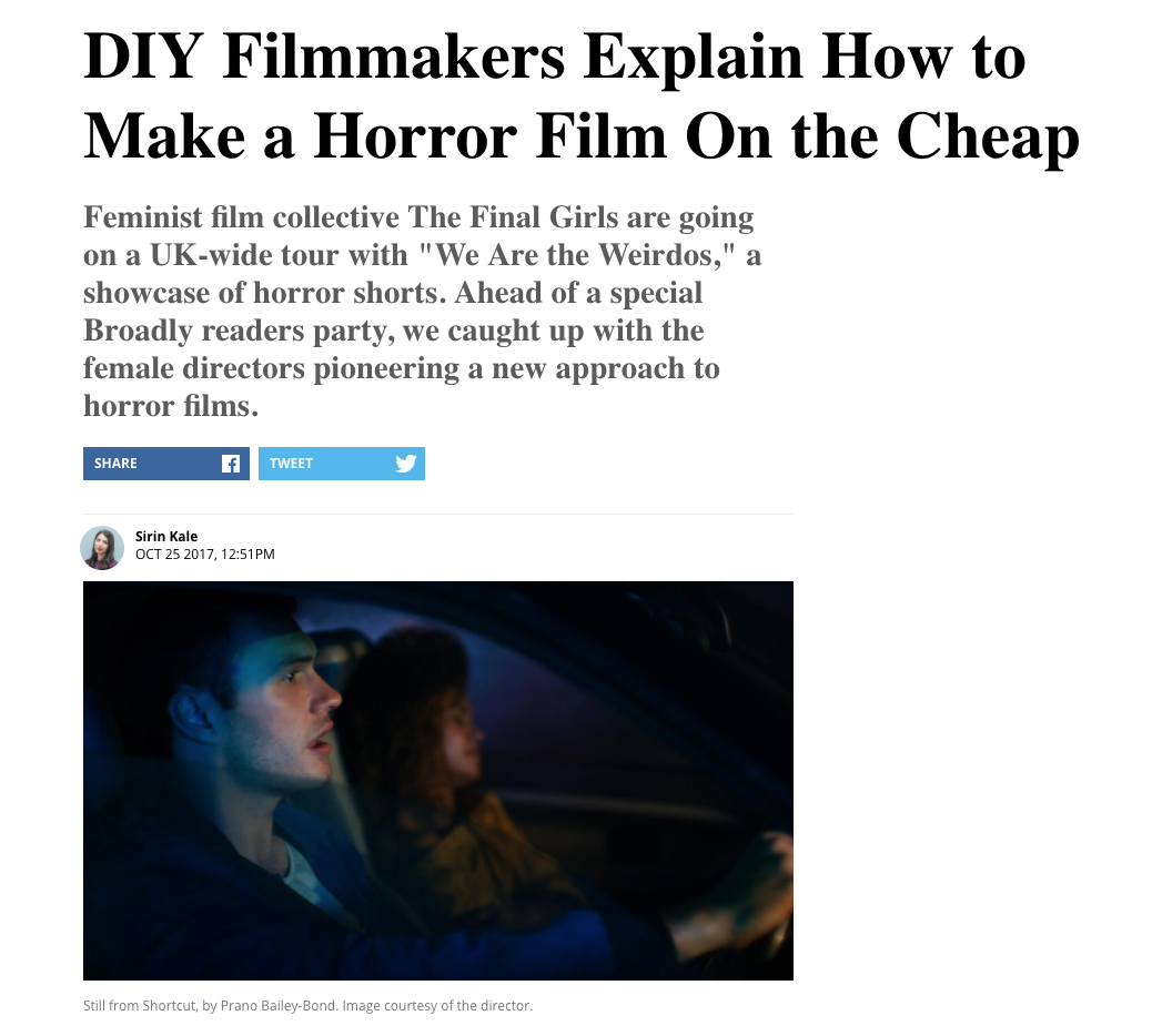 DIY Filmmakers Explain How to Make a Horror Film on the Cheap  - Broadly 25th Oct 2017