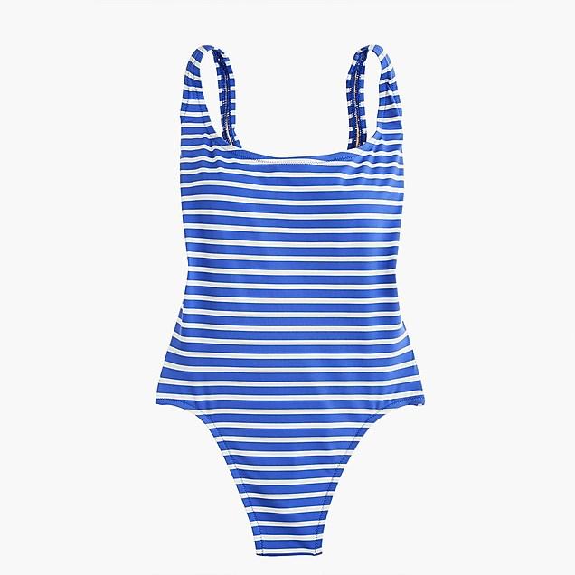 JCrew - Blue striped, scoop back, one piece suit.