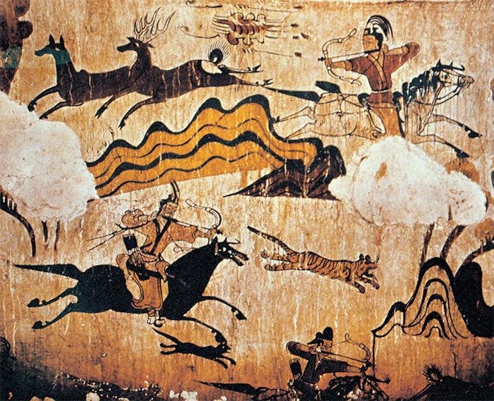 무용총 수렵도(고구려, 5세기) -고구려인의 역동적인 사냥 모습을 보여준다.