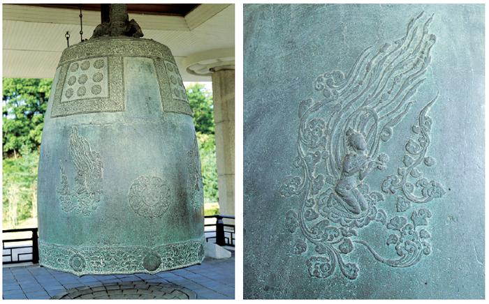 성덕대왕신종 (통일신라, 8세기) - 현존하는 가장 큰 종으로 무게가 18.9t에 달한다. 에밀레종이라고도 불린다. 오른쪽 사진에서는 신라의 세공기술을 엿볼 수 있다.