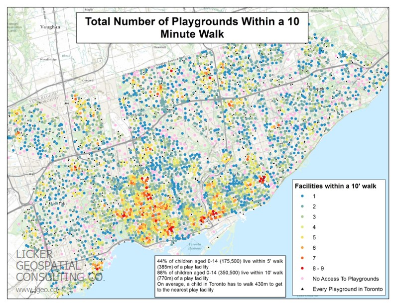 Access to playgrounds in Toronto