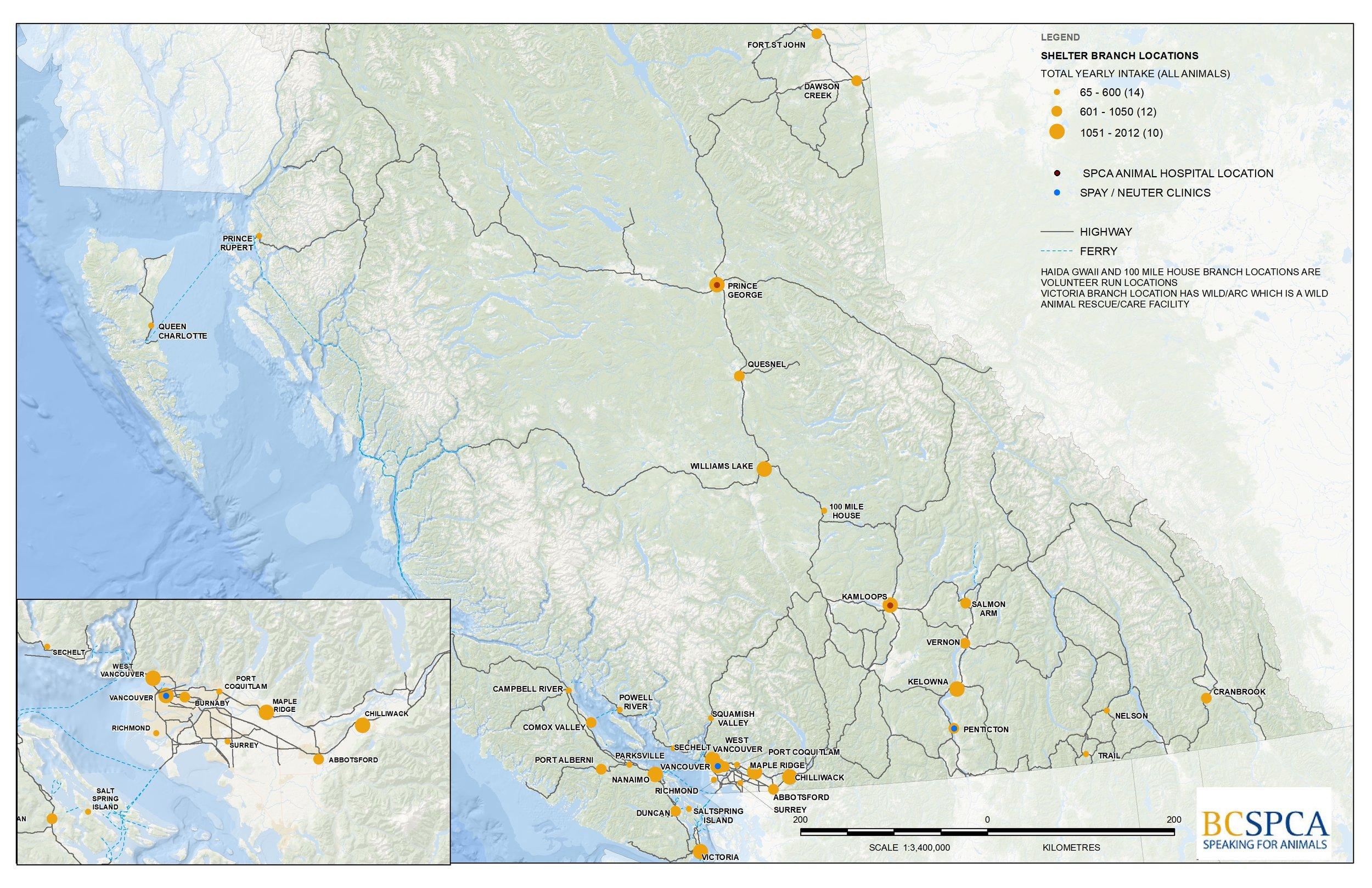 SPCA Locations in BC