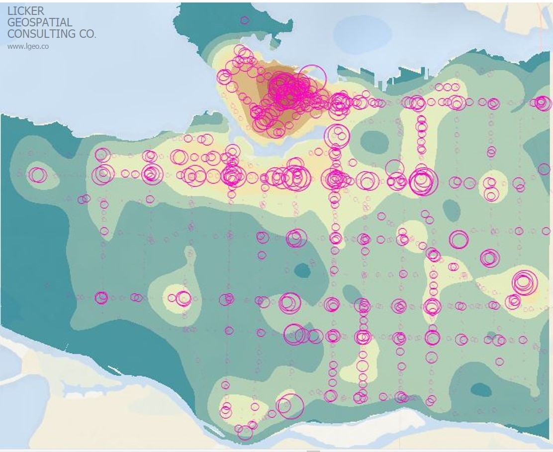 Combined Employment and Population Density Versus Bus Stop Volumes