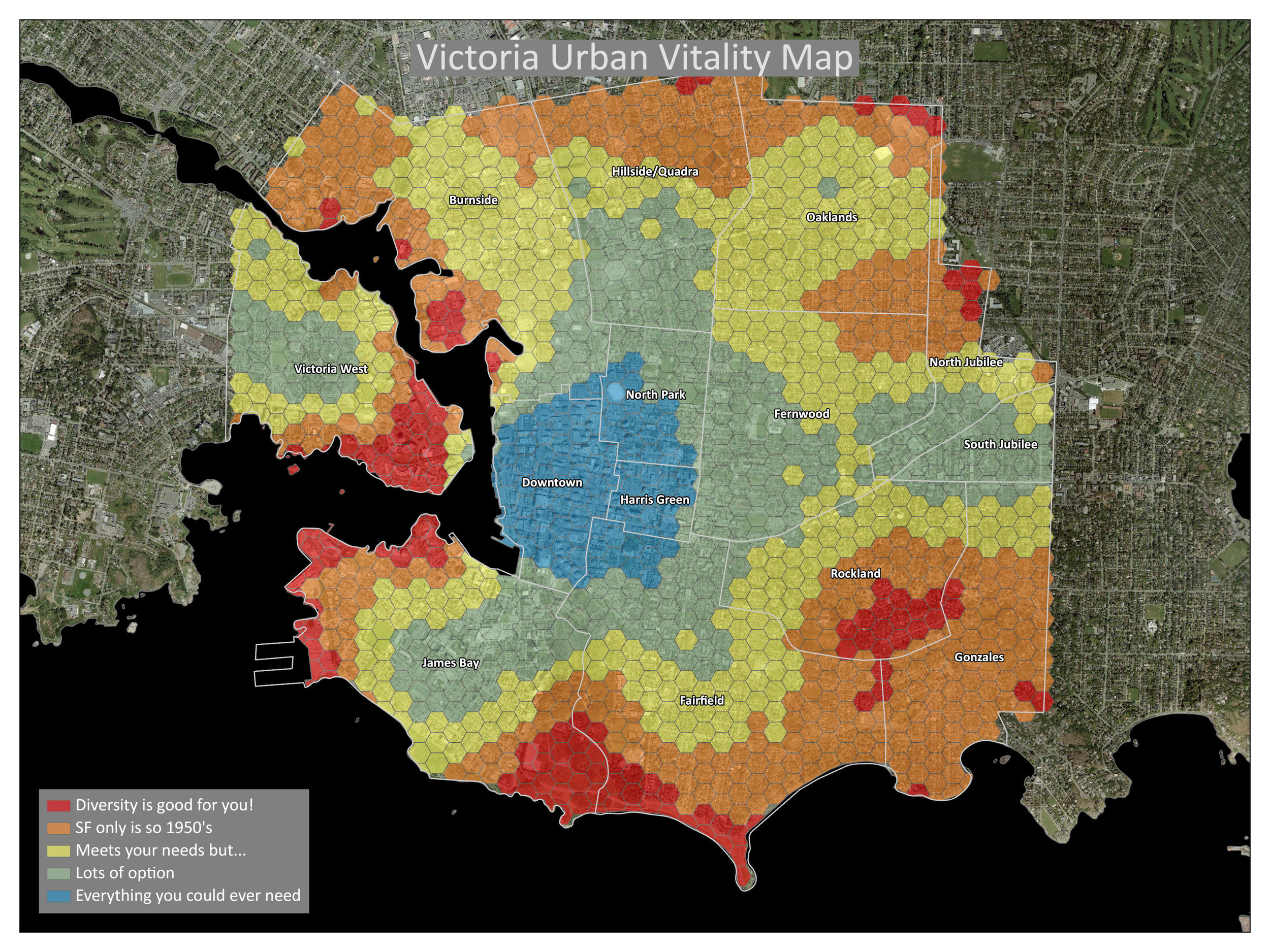Victoria Walkability Index, the combination of four factors:  - Higher Population Density -> Higher Score  -More Commercial FAR -> Higher Score  -Balanced Mix of Land Uses -> Higher Score  -More road / walking network connectivity -> Higher Score