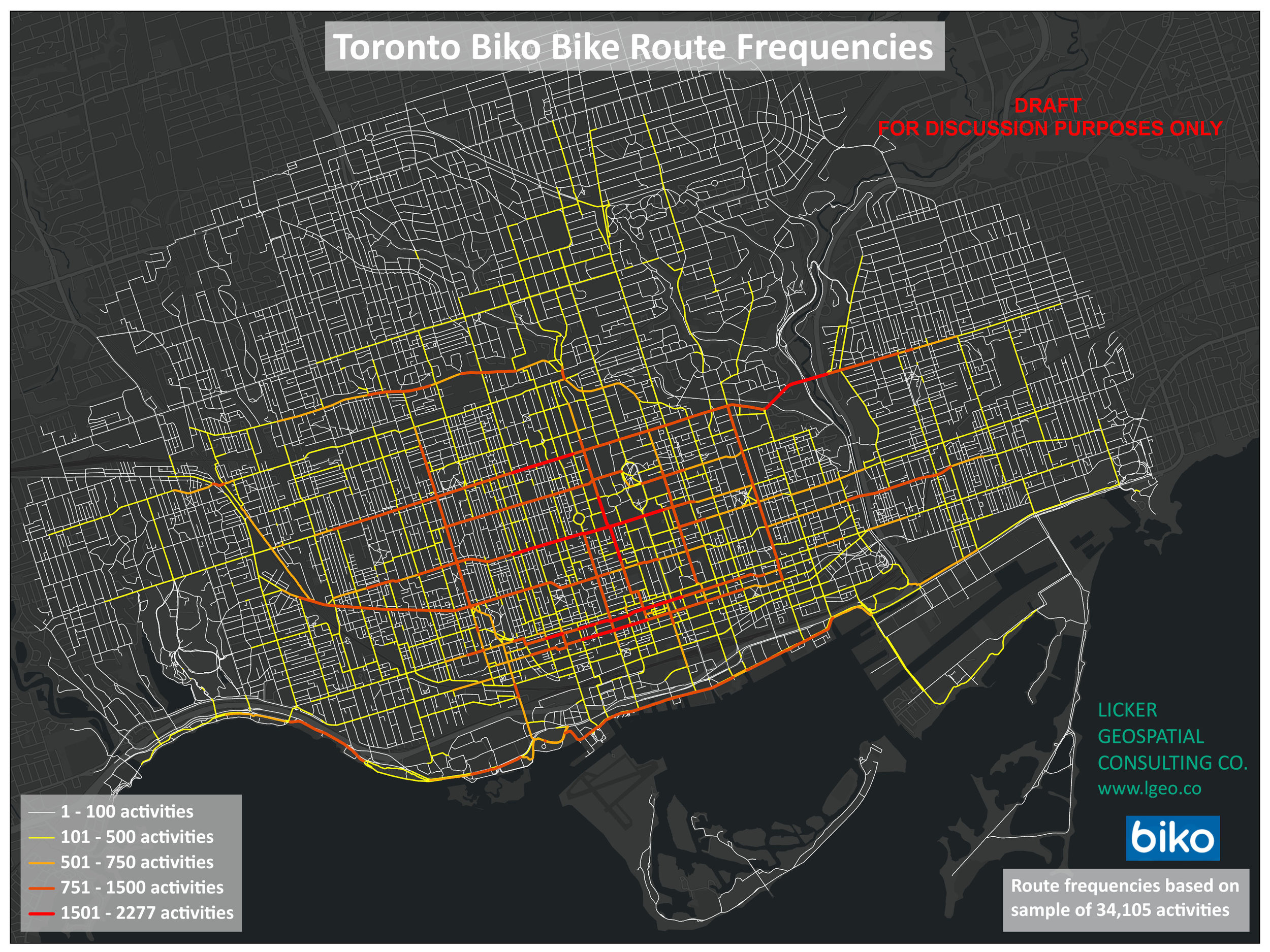 First Route Density analysis of Biko data in City of Toronto.