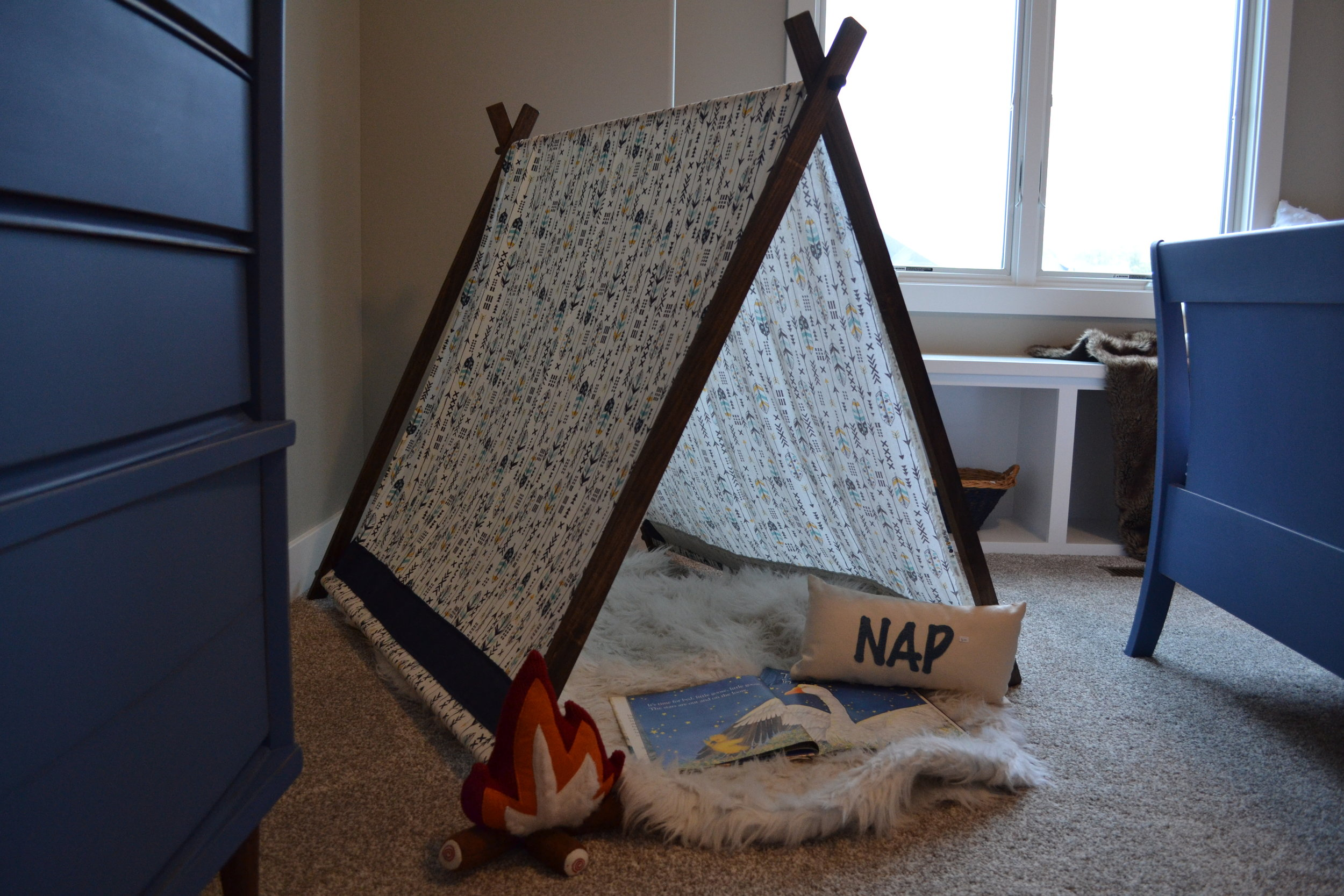 kid's bedroom with custom play tent