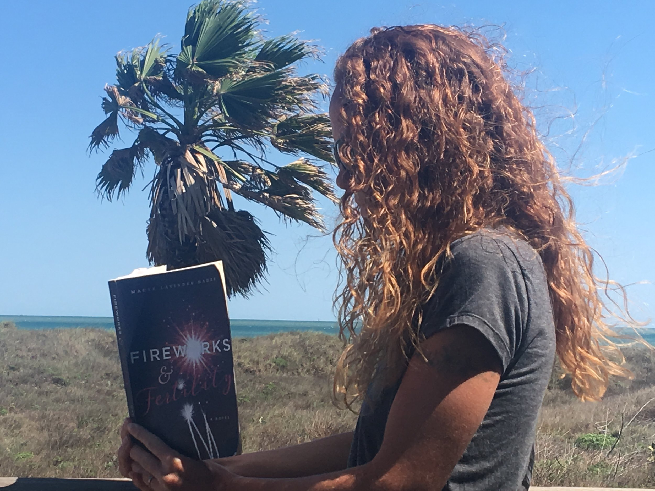Victoria Campbell takes page after page in the dreamy sun...Port Aransas, TEXAS.