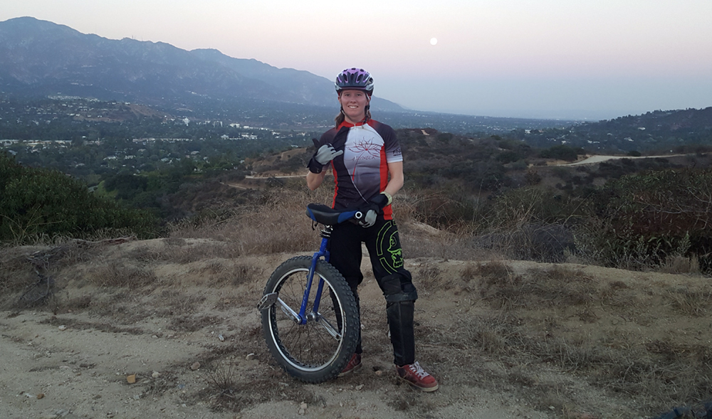 Trail Ride —JPL scientist Morgan Cable heads to Utah once a year to hit the trails on her mountain unicycle and take part in the Moab Munifest.  Photo: Josh Schoolcraft
