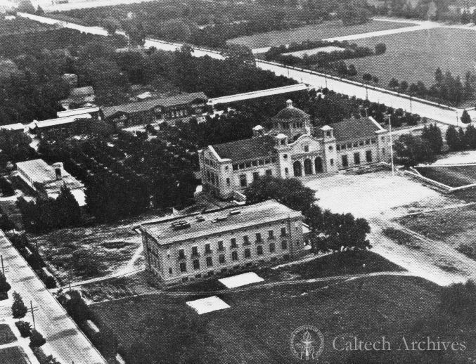 Aerial view of campus featuring Throop Hall and the Gates Laboratory of Chemistry, c. 1919.