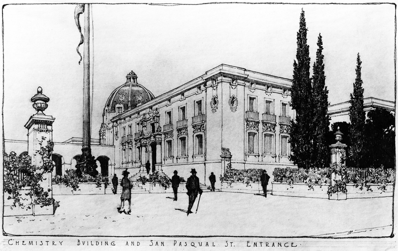 Original rendering of the east side of the Gates Laboratory of Chemistry (now Parsons-Gates Hall of Administration).