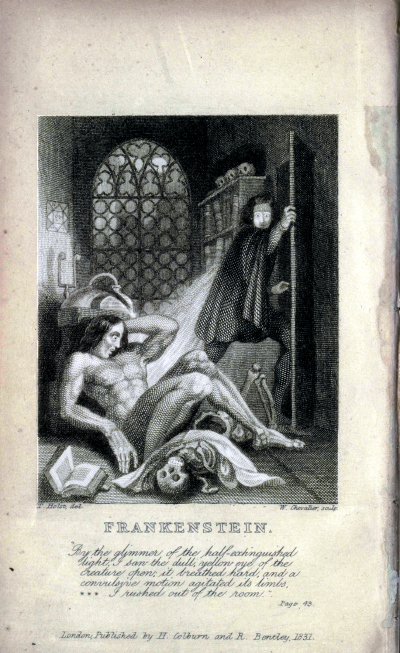 Inside cover art from the 1831 edition of  Frankenstein .