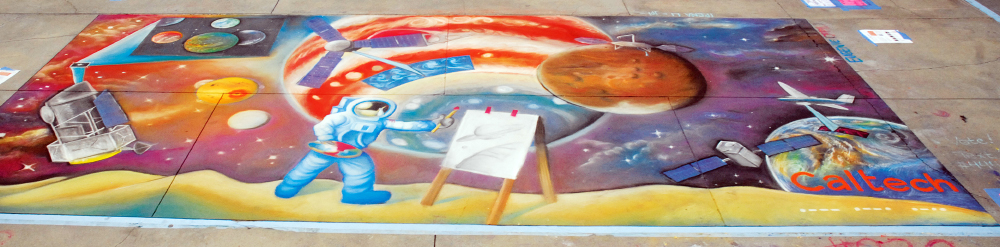 A team of artists represented campus and JPL at the Pasadena Chalk Festival, held in June at the city's Paseo Colorado (see story at right). Their artwork, entitled  Out-of-This-World , featured past, present, and future space missions including Juno, OCO-2, and Mars InSight. The paintbrush-wielding astronaut (above) is drawn in the style of Alan Bean, the late astronaut who was also an artist.  Photo/Thomas Willard