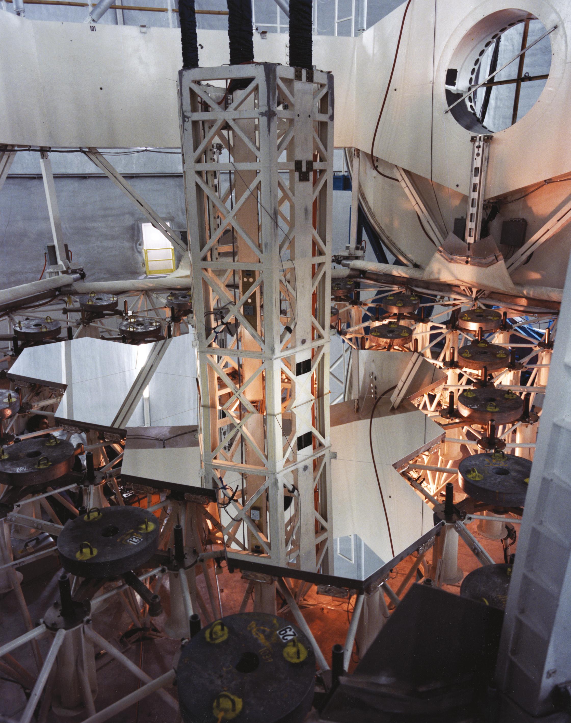 Nine of Keck's segmented mirrors.