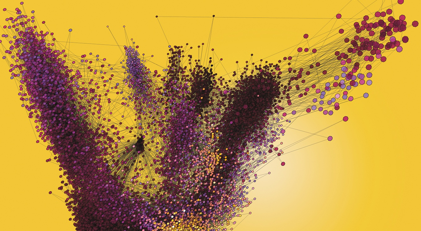 Santiago Lombeyda, a computational scientist with Caltech's Center for Data Driven Discovery, created this illustration. In this visualization of data points from a large single-cell study, each dot represents a single cell, which consists of 20,000 independent gene expression measurements, that were then mathematically mapped into a 3-D space. Caltech senior research scientist Sisi Chen provided the data and analysis.