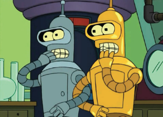 The TV series  Futurama  explored the many-worlds interpretation of quantum physics in an episode that featured the robot character Bender meeting his (nearly) exact twin.