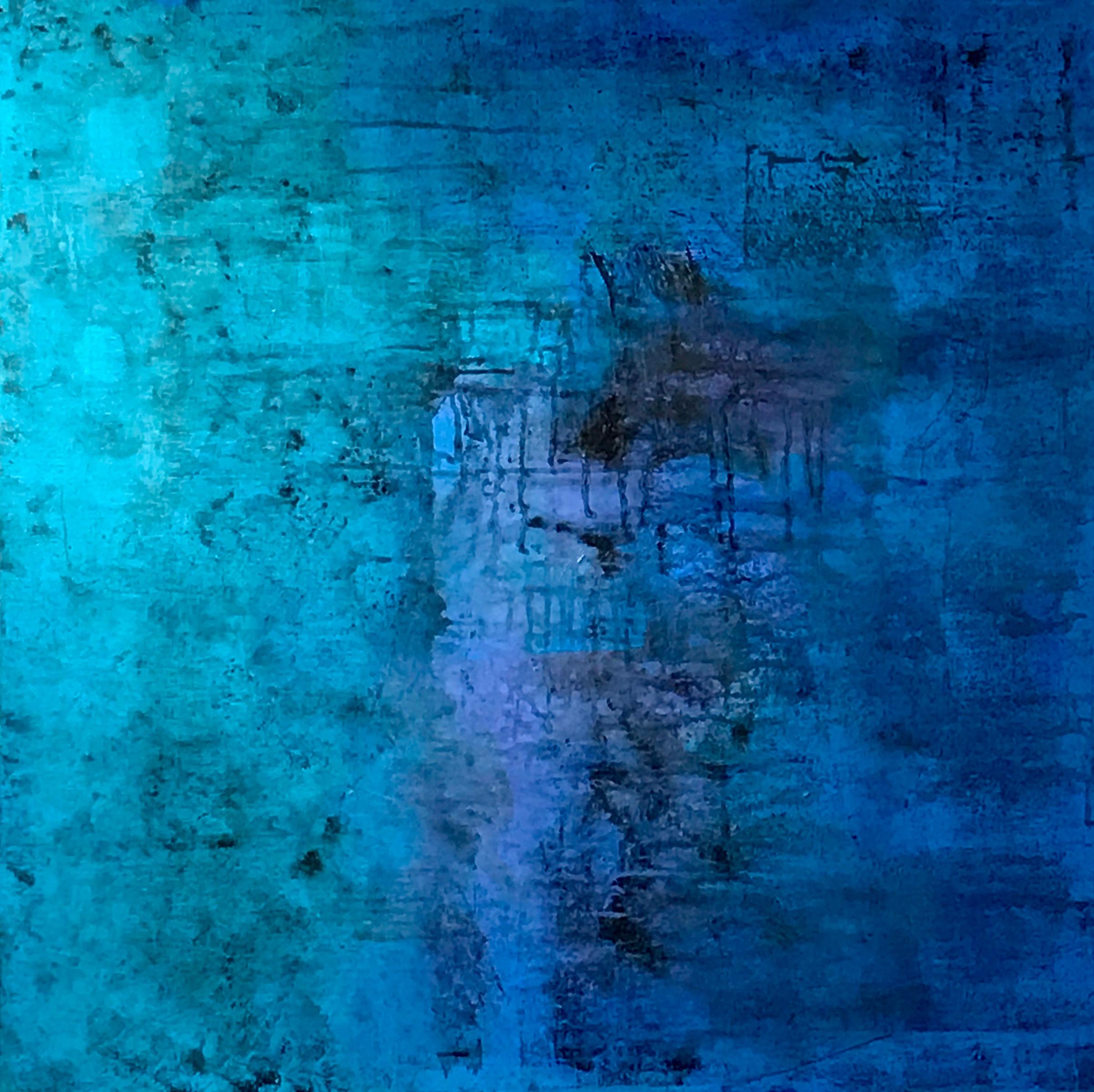 "Blue Series #1 Acrylic on Gessoed Canvas 36""H x 36""W"