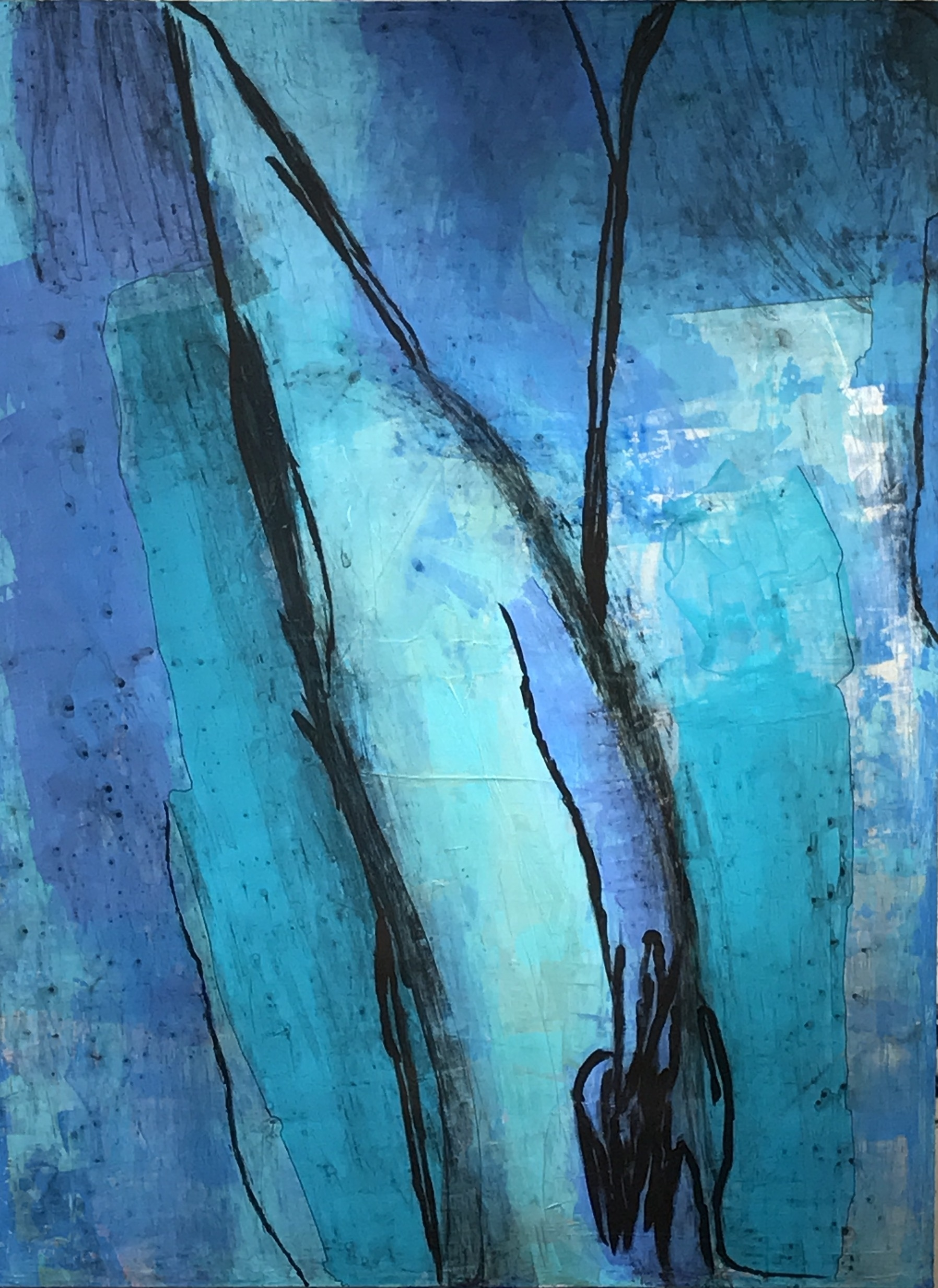 """Untitled Abstract #13 Acrylic, Ink, Charcoal on Canvas 48""""H x 36""""W"""